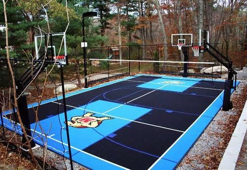 basketball court backyard cost flex court basketball