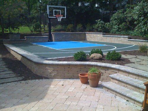 backyard basketball half court flex court sport courts landscaping