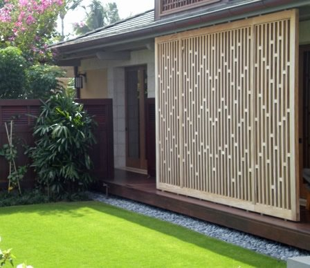 Modern lattice screens landscaping network for Outdoor wood privacy screen