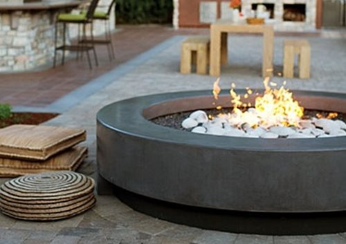 Concrete fire pits bowls landscaping network for Modern fire pit ideas