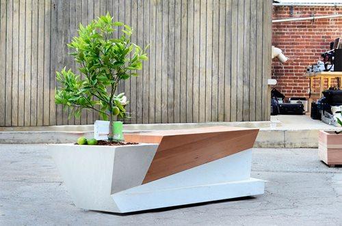 Modern Garden Bench Amp Planter Combo Landscaping Network