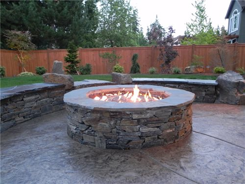 Backyard family retreat in northwestern washington - Fire pit landscaping ideas ...