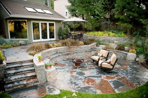 Rustic patio stone outdoor living walls steps fire pit gregg and ellis