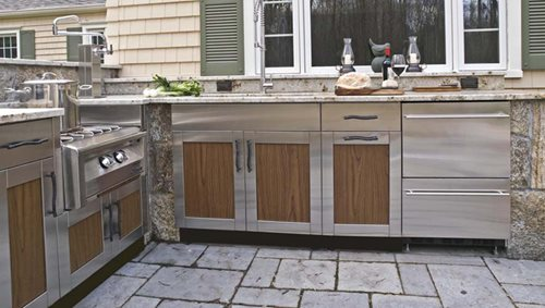 stainless steel cabinet doors for outdoor kitchen outdoor kitchen cabinets landscaping network 9778