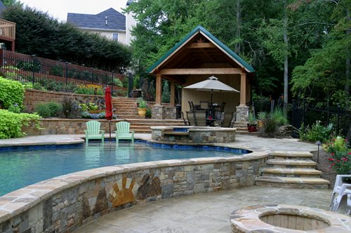 Attrayant Terraced Backyard Swimming Pool
