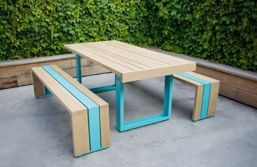 table and bench set constructed of wood and aluminum