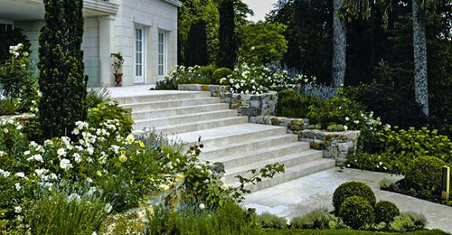 wide natural stone steps