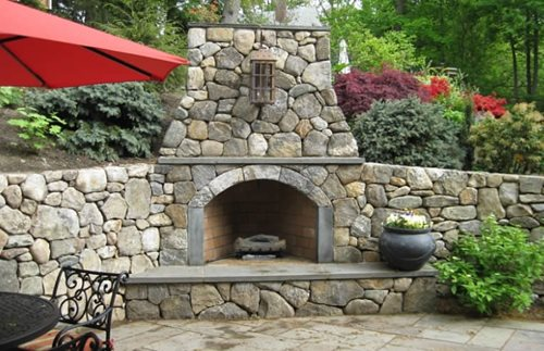 Outside Stone Fireplace Ideas: Outdoor Fireplace Design