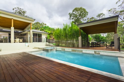Swimming pool finishes landscaping network for Modern pool landscaping