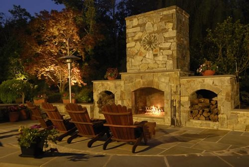 Stout Landscape In Los Angeles, CA; Outdoor Fireplace