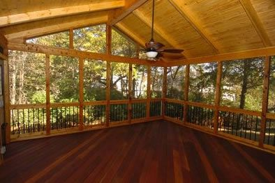 Screened porch ideas landscaping network for Covered porch flooring options