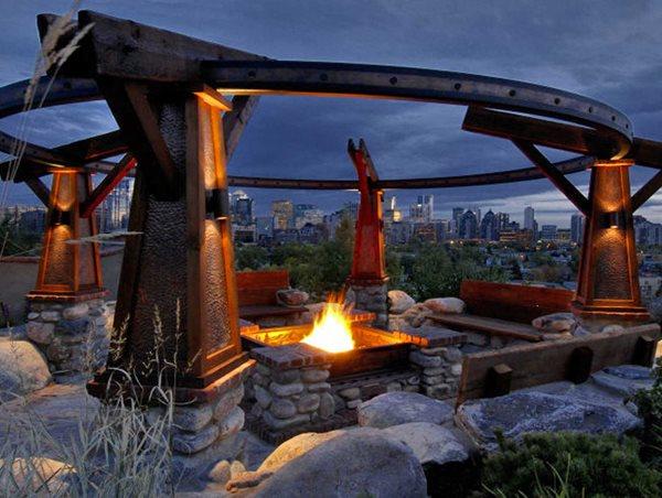 Craftsman Fire Pit, Seating Area DDLA Design Dallas, TX