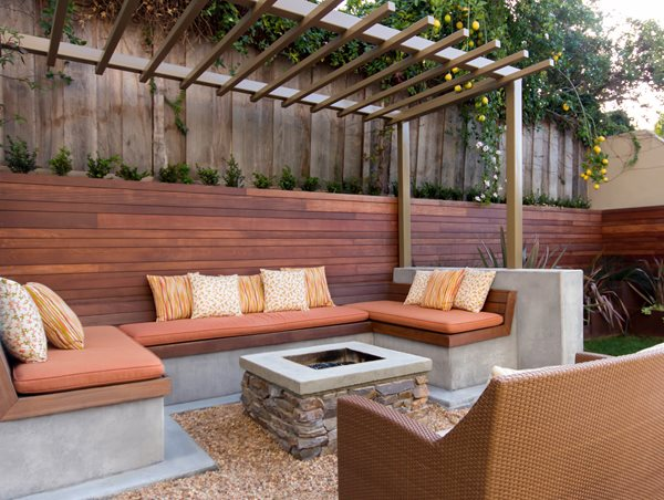 Square Stone Fire Pit, Concrete Cap, Buil In Bench Seating, Metal Pergola Front Yard Landscaping Studio H Landscape Architecture Newport Beach, CA