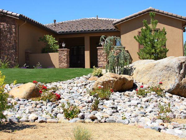 Desert Front Yard, Dry Streambed Front Yard Landscaping Signature Landscapes Huntsville, AL
