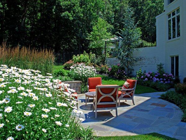 Small Patio, Stone Patio, Teak Furniture Front Yard Landscaping Botanical Decorators Olney, MD