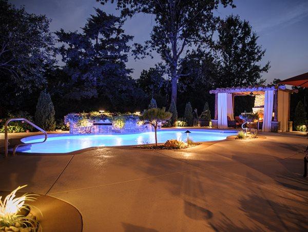 Raised Pool Planter, Pool Lights Swimming Pool Artistic Group Inc. St. Louis, MO
