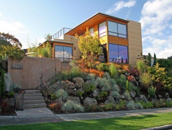 Front Yard Hillside Patio Banyon Tree Design Studio Seattle, WA