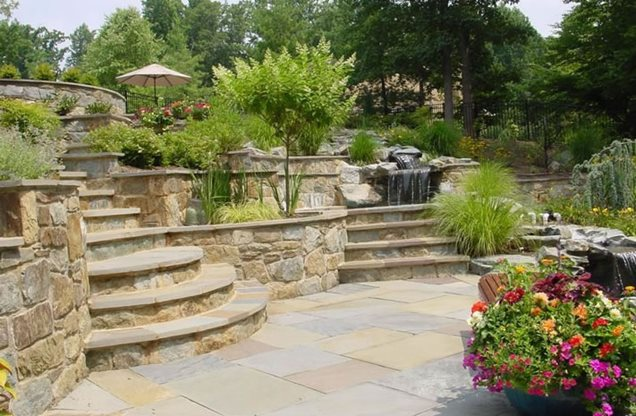 Sloped Back Yard Landscaping Ideas 636 x 416