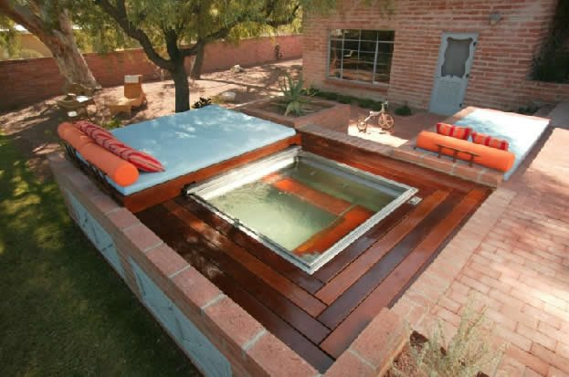 Square Backyard Spa Backyard Landscaping Design Collaborations Tucson, AZ