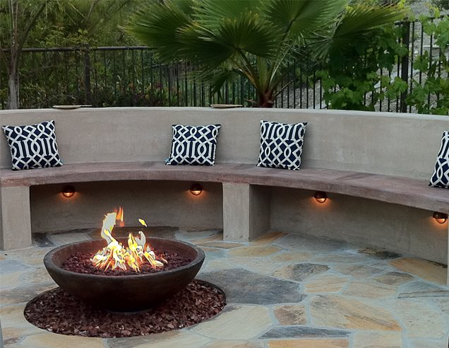 Built in seating san clemente ca photo gallery for Built in fire pits designs