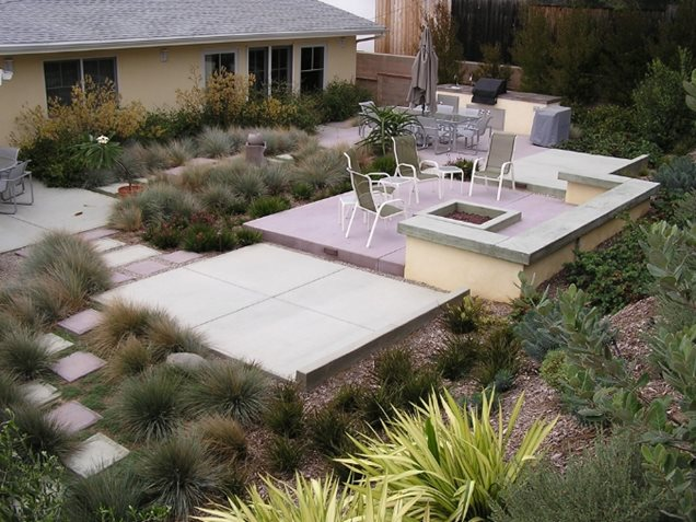Cement Backyard Garden :  outdoor kitchen and firepit Dividing the yard into smaller