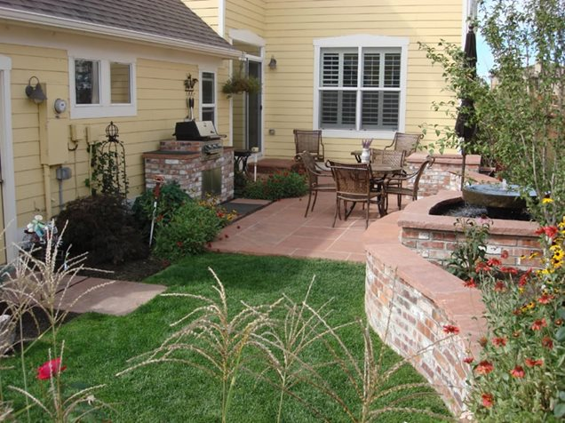 Country Style Backyard Ideas :  patio, this small backyard becomes an extension of the homes living