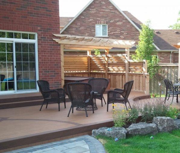 Landscaping Pictures For Decks : Backyard composite deckingdeck designogs landscape serviceswhitby on