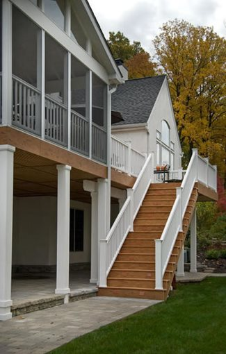 Deck designs deck designs second story for Second story decks with stairs