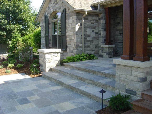 Entryways steps and courtyard puslinch on photo for Courtyard stone and landscape