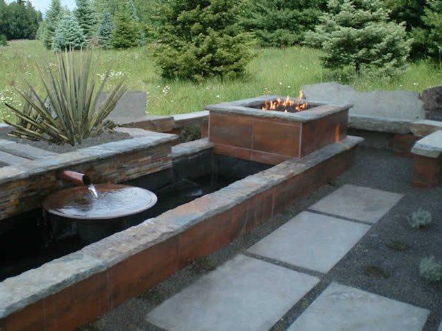 Water And Fire Features For Backyards : Backyard Water FeatureFire PitThe Garden Artist, LLCBoise, ID