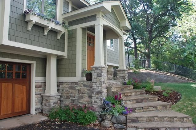 Updated siding trends and front porch additions on for Front porch landscaping ideas