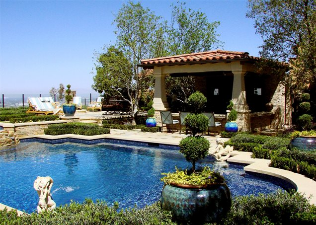 Download landscaping tuscan style backyard landscaping pictures with a pool filters - Mediterranean backyard designs ...