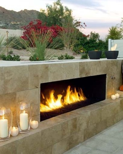 Short Outdoor Fireplace, Gas Fueled FireplaceModern FireplaceUrban