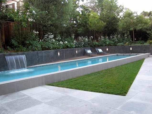 modern lap pool raised lap poolmodern poolshades of green landscape