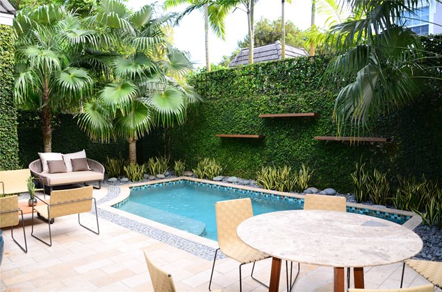 Modern pool miami fl photo gallery landscaping network for Pool landscape design