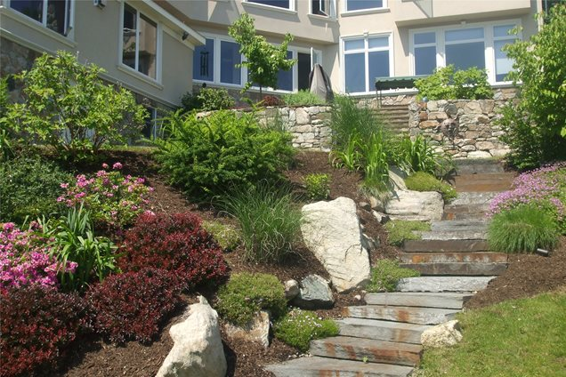 Landscaping Ideas For Front Of House In Northeast : Landscaping hillside ideas retaining walls