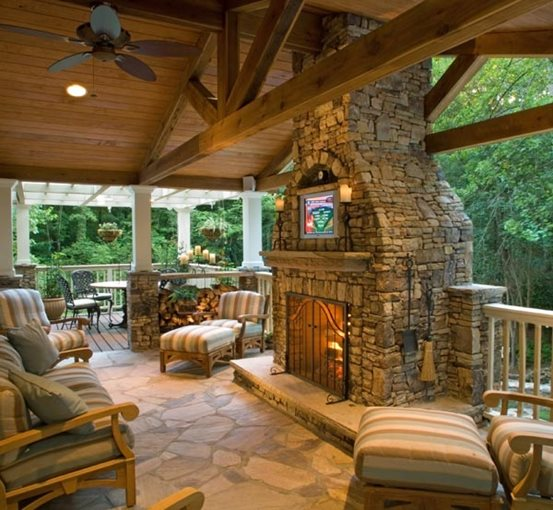 Back Porch with Fireplace 553 x 510