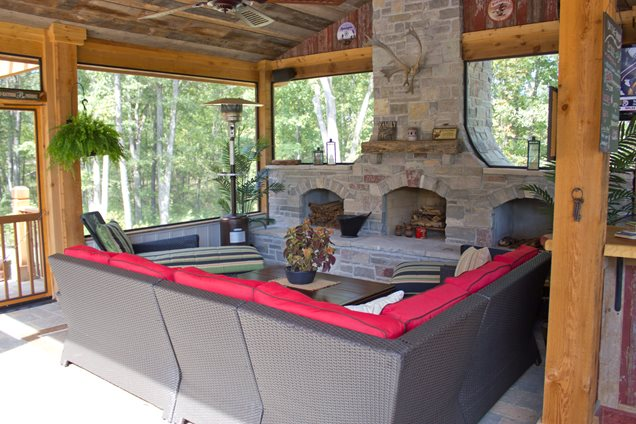 Outdoor fireplace chesterfield mo photo gallery for Gas fireplace screened porch