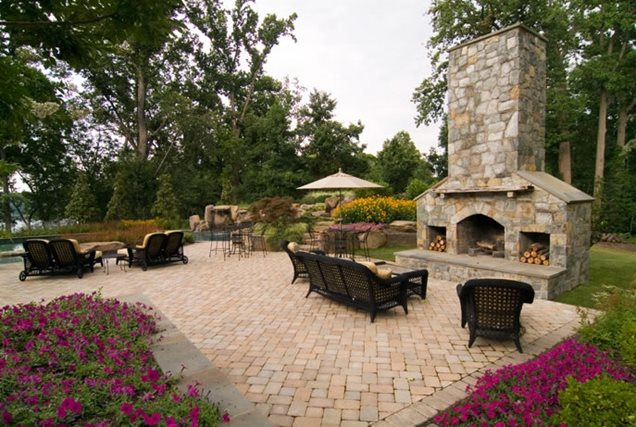 Hill Backyard :  FireplaceOutdoor FireplaceWalnut Hill Landscape CompanyAnnapolis, MD