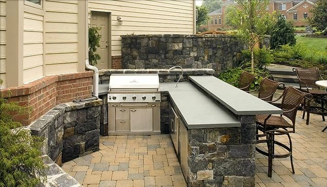 Backyard Kitchen And Bar : Outdoor Kitchen Bar CounterOutdoor KitchenSurrounds Landscape