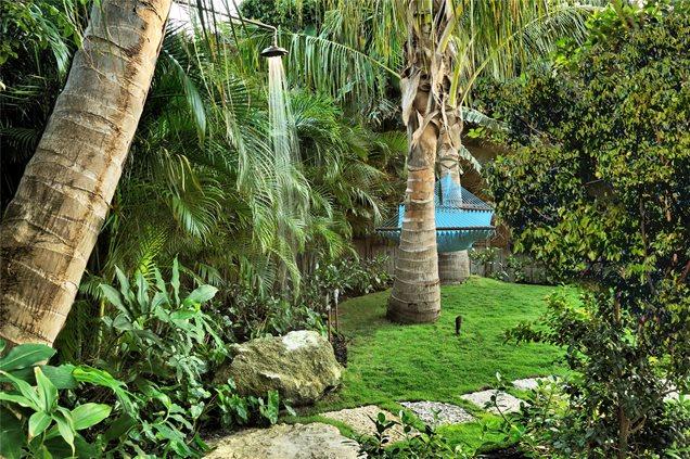 Key West Backyard Ideas : Palm Tree, Outdoor Shower, Copper, Rain HeadOutdoor ShowersCraig