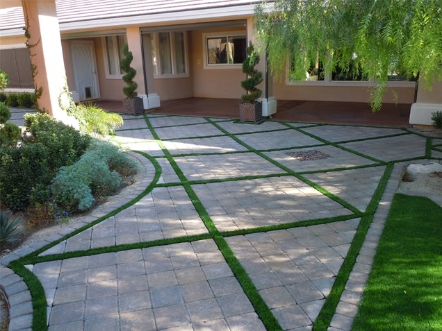 Cement Backyard Garden : Pavers, Turf, DesignPatioNewtex Landscape, IncHenderson, NV