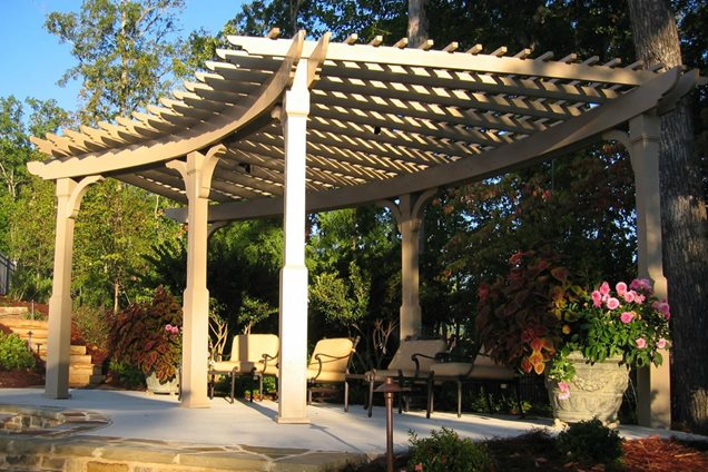 curved pergola construction