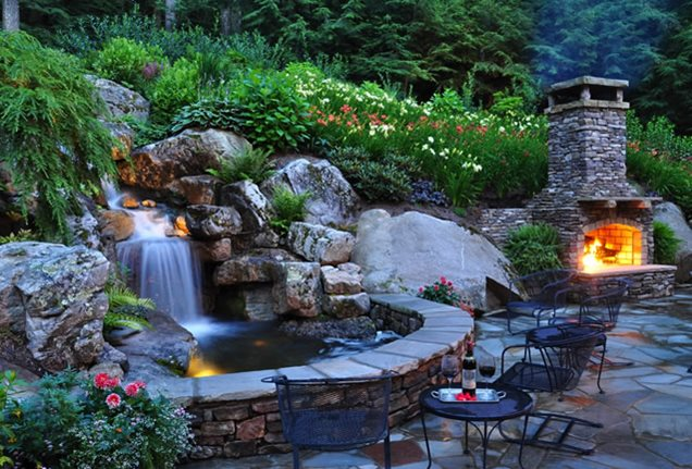 Pond and waterfall linville nc photo gallery Garden waterfall designs