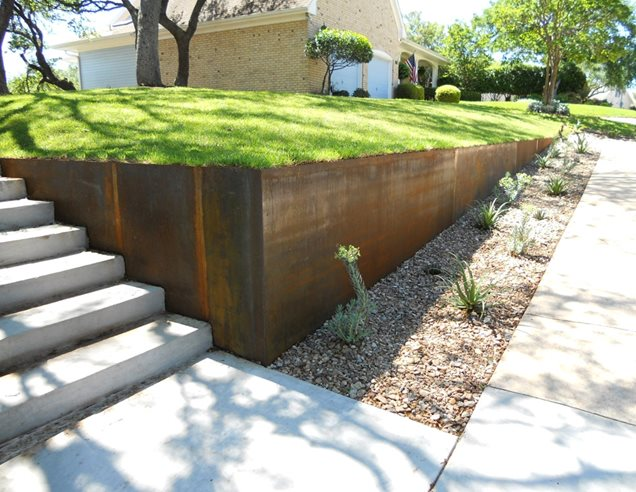 steel retaining wallretaining and landscape wallaustin outdoor