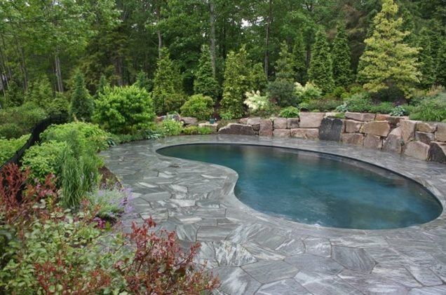 Simple swimming pools newmarket nh photo gallery for Pool landscaping ideas