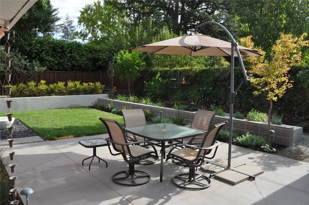Cement Backyard Garden : Spacious Patio AreaSmall Yard LandscapingHuettl Landscape