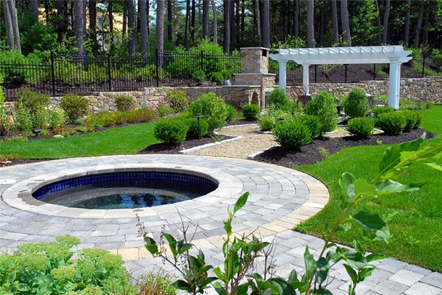 Circles were used throughout this backyard circles and curves work