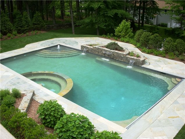 garden design with swimming pool carmel ny photo gallery landscaping network with landscape designs from - Backyard Swimming Pool Designs