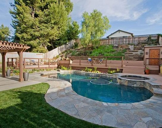 Landscaping pool area home design for Landscaping ideas for pool areas